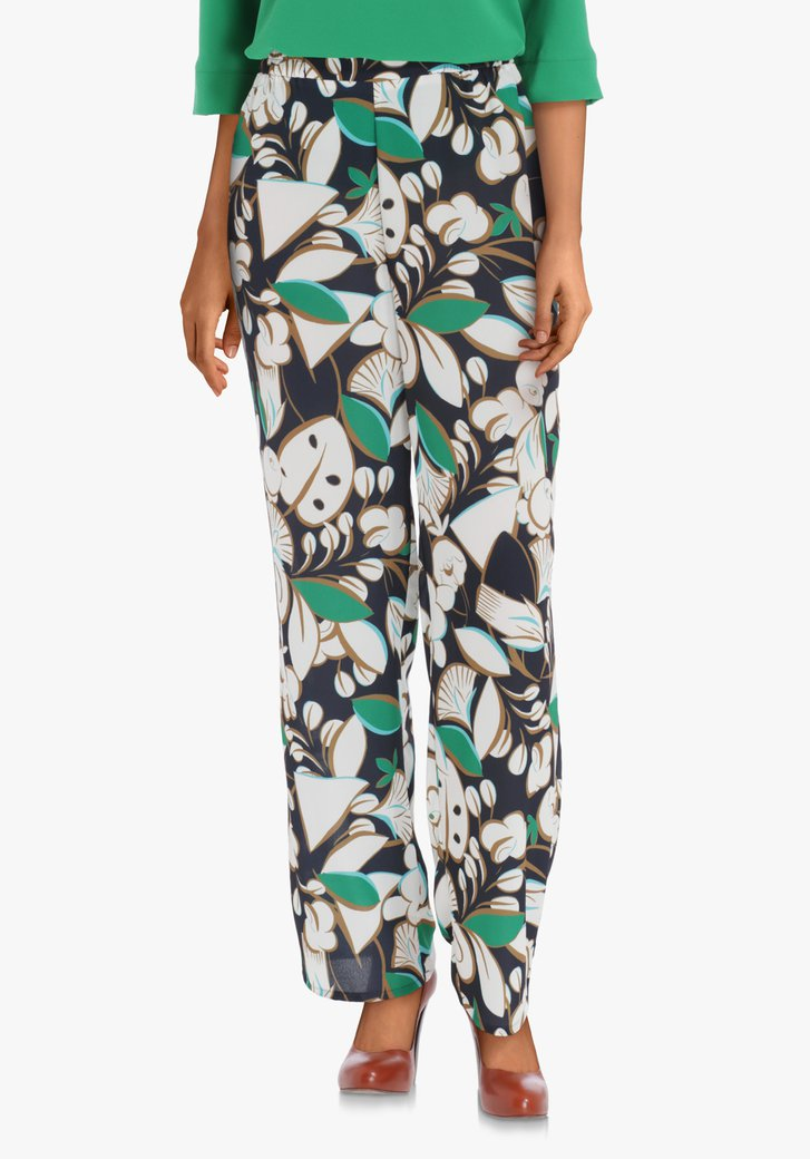 Pantalon bleu marine motif feuille – straight fit