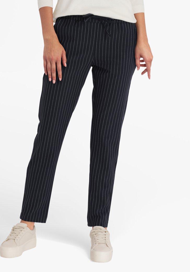 Pantalon bleu marine rayé - slim fit