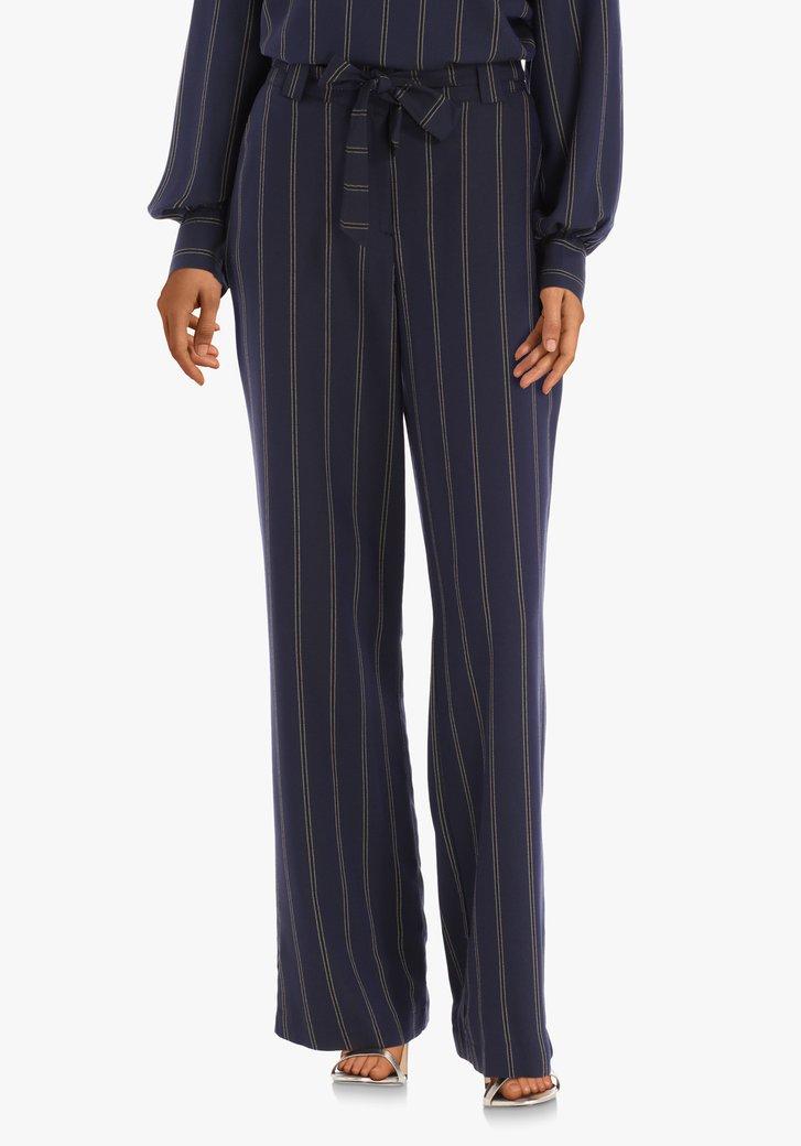 Pantalon bleu marine rayures dorées – straight fit