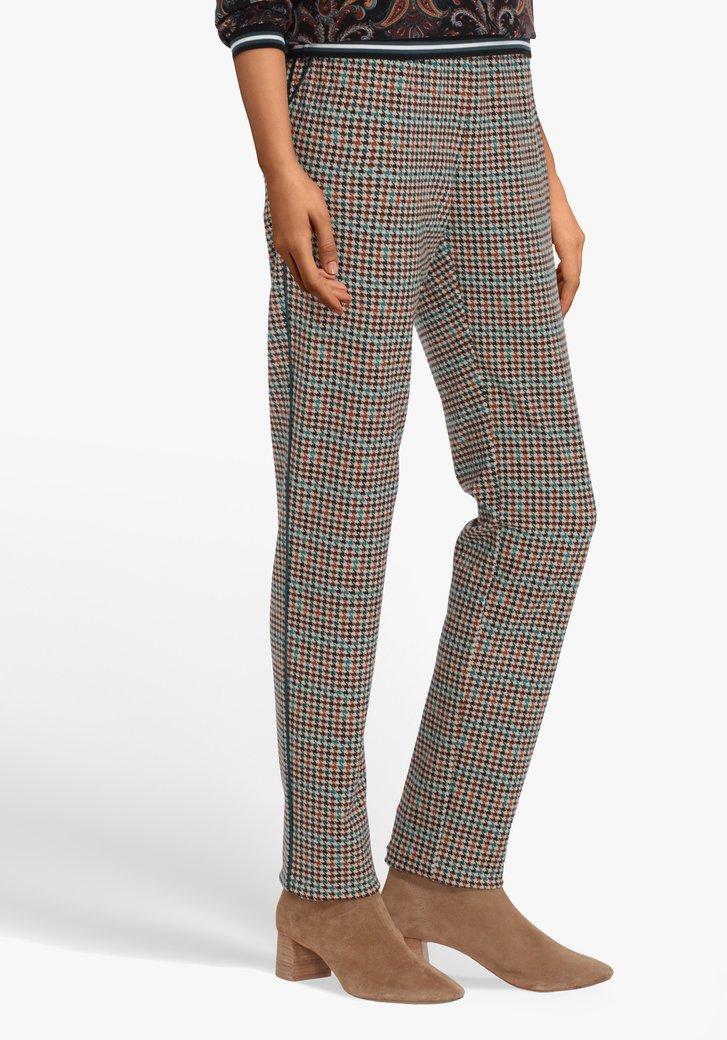 Pantalon brun avec pied-de-poule - slim fit
