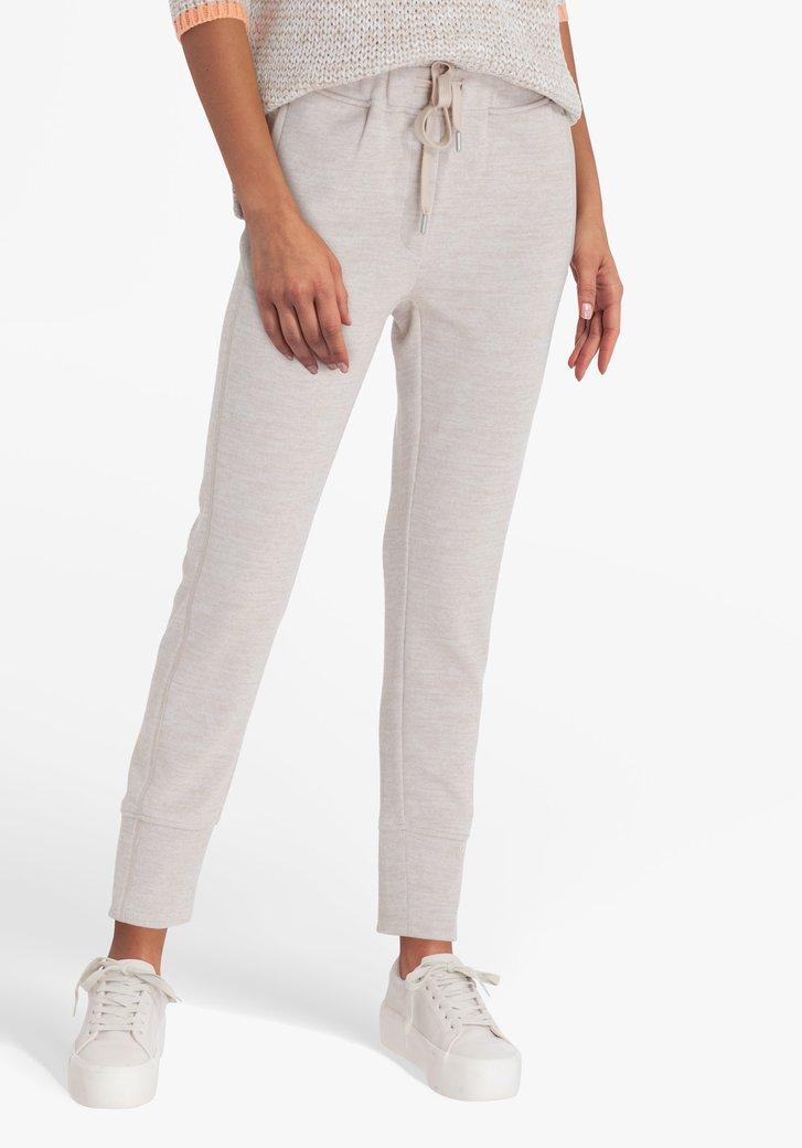 Pantalon de jogging beige en tissu côtelé