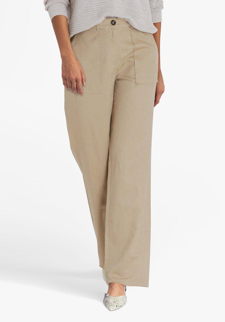 Pantalon écru en lin et coton