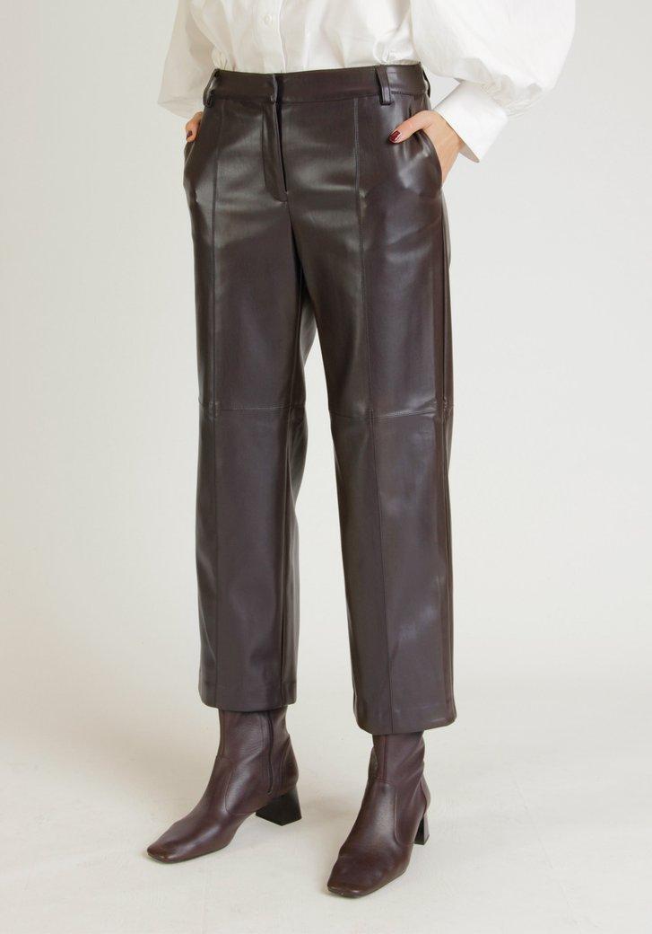 Pantalon en faux cuir violet foncé - straight fit