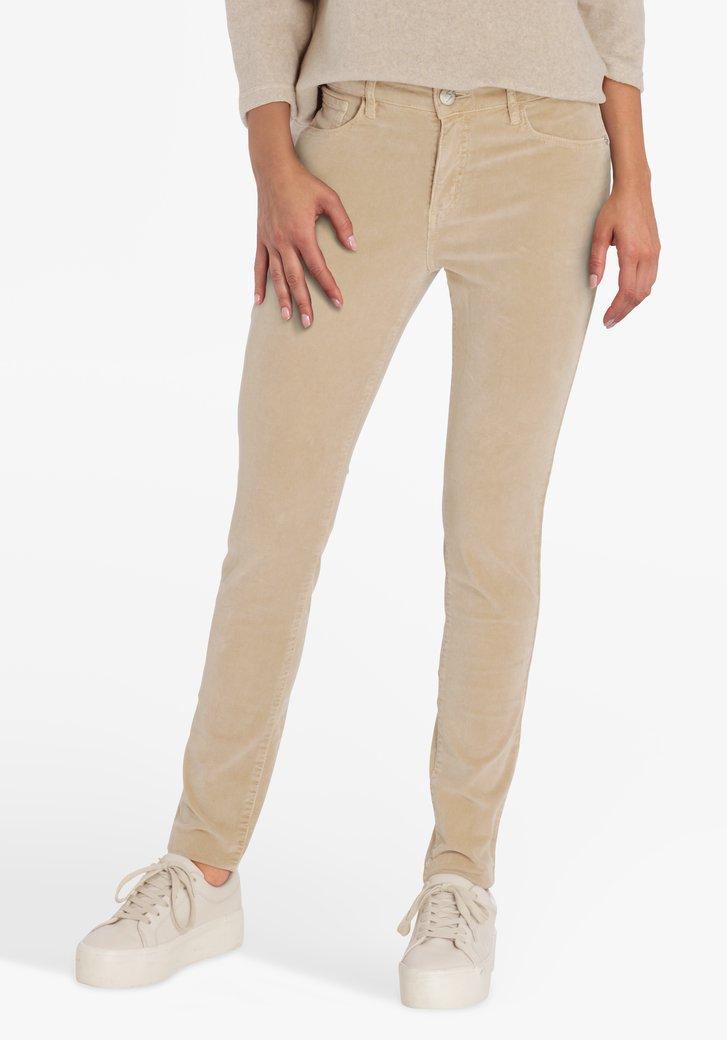 Pantalon en velours côtelé beige - slim fit