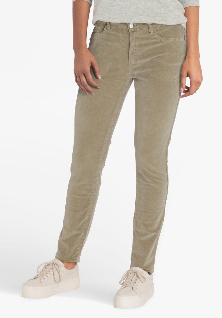 Pantalon en velours côtelé kaki - slim fit