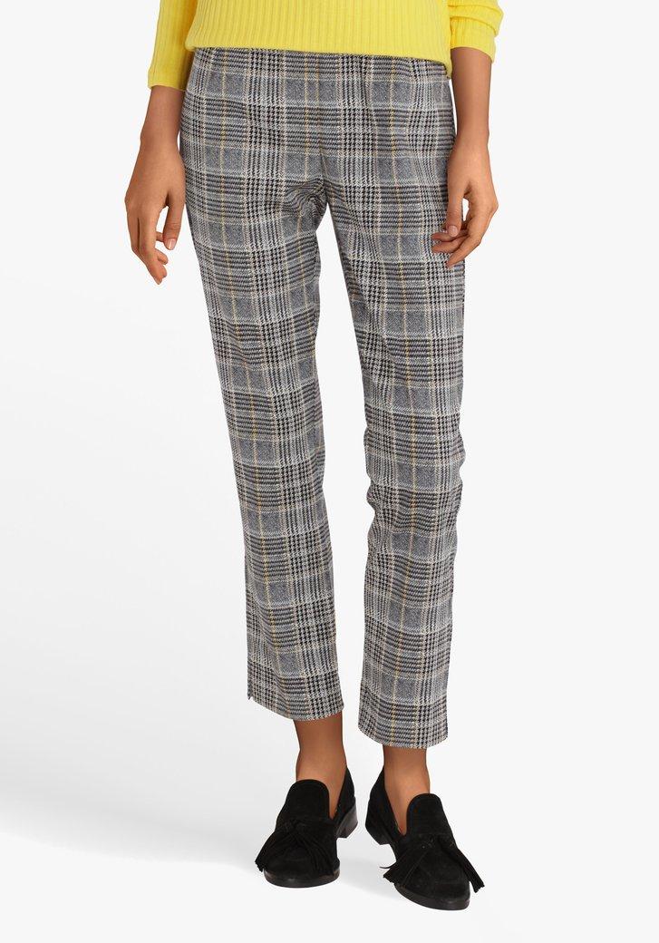 Pantalon gris à carreaux avec taille élastiquée