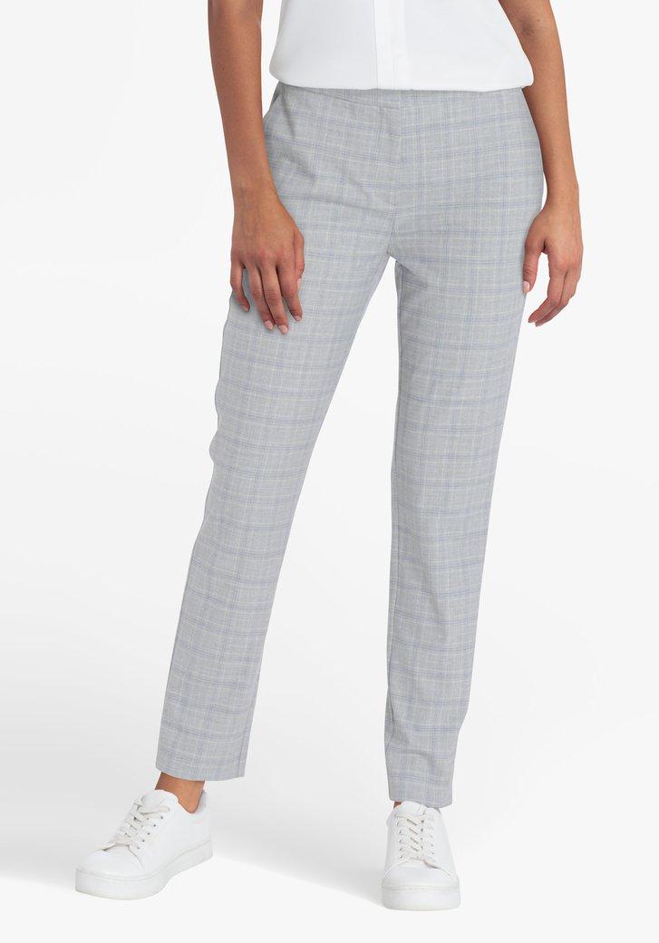 Pantalon gris à carreaux jaunes et bleus