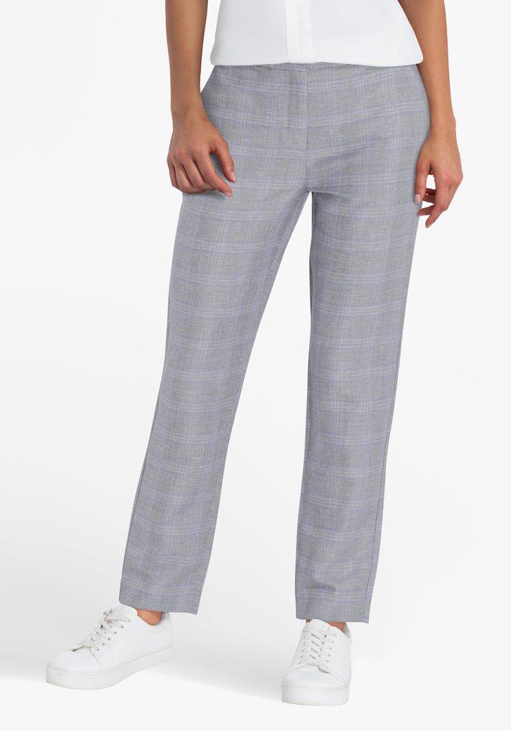 Pantalon gris à carreaux violets
