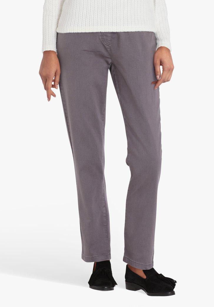 Pantalon gris, taille élastiquée-L30-straight fit