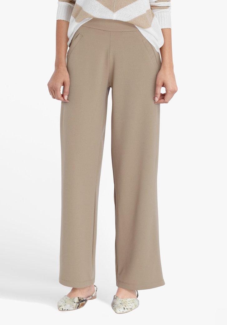 Pantalon habillé beige à jambe large-straight fit