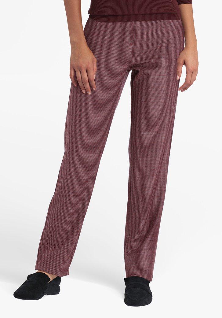 Pantalon habillé bordeaux avec motif-straight fit
