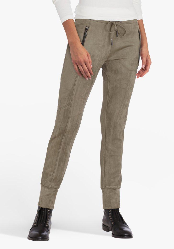 Pantalon kaki en daim - slim fit