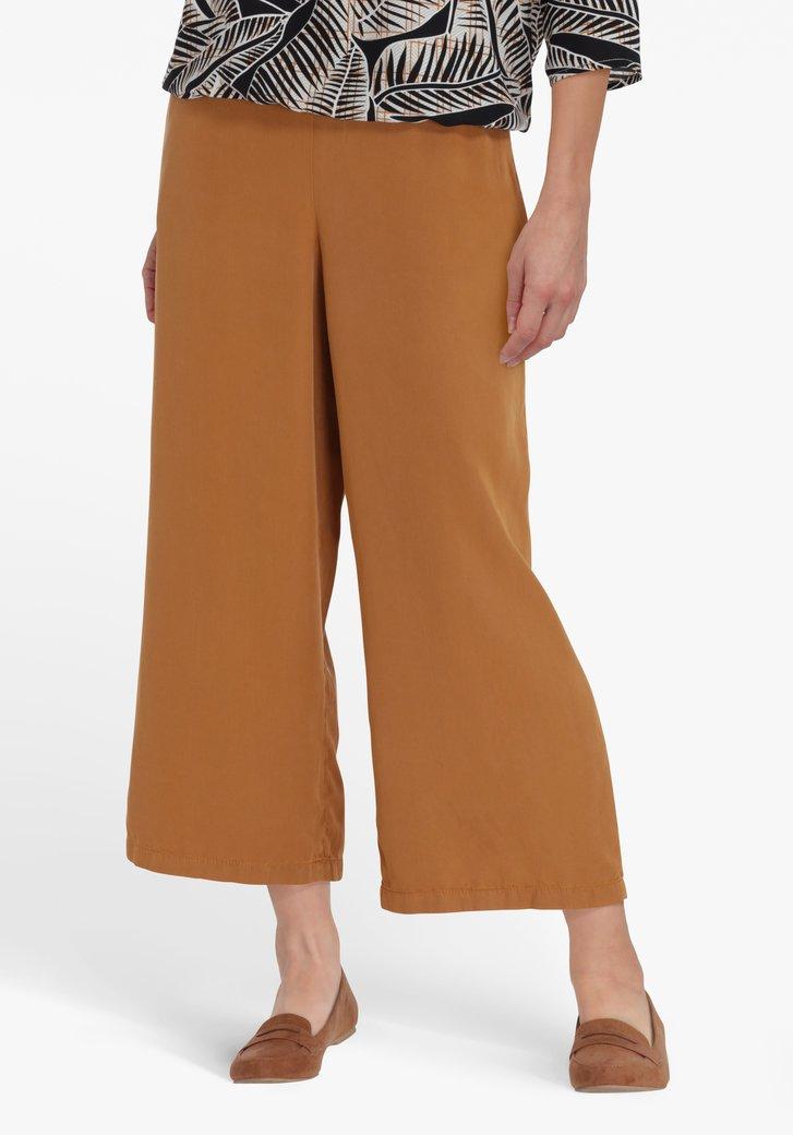Pantalon large 7/8 brun clair à taille élastique
