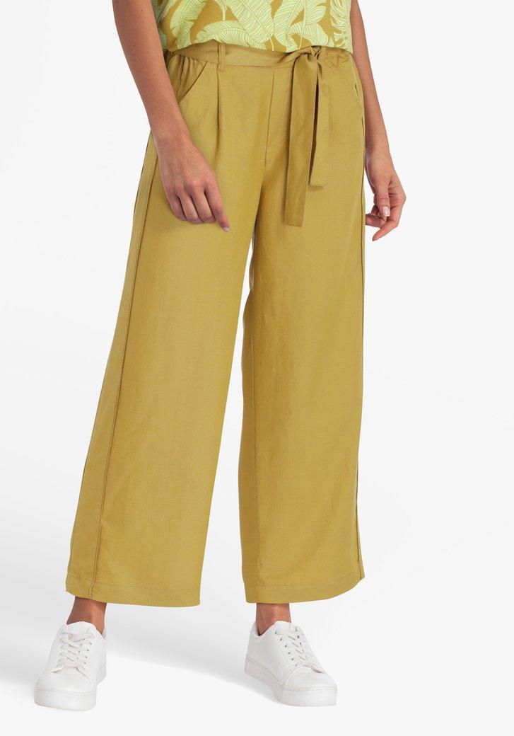 Pantalon large 7/8 jaune moutarde à nœud papillon