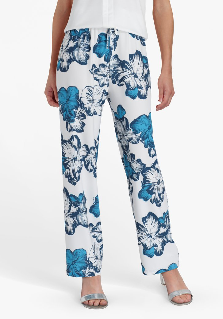 Pantalon large blanc à imprimé floral bleu