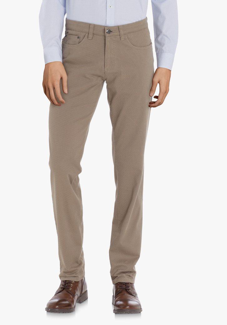 Pantalon marron clair avec mini-impression