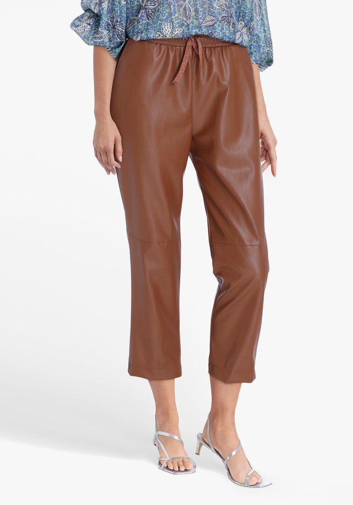 Pantalon marron en similicuir à taille élastiquée