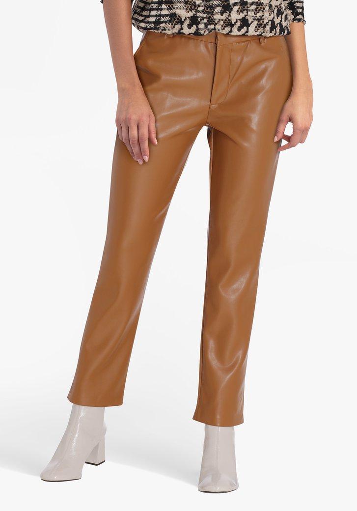 Pantalon marron en similicuir - straight fit