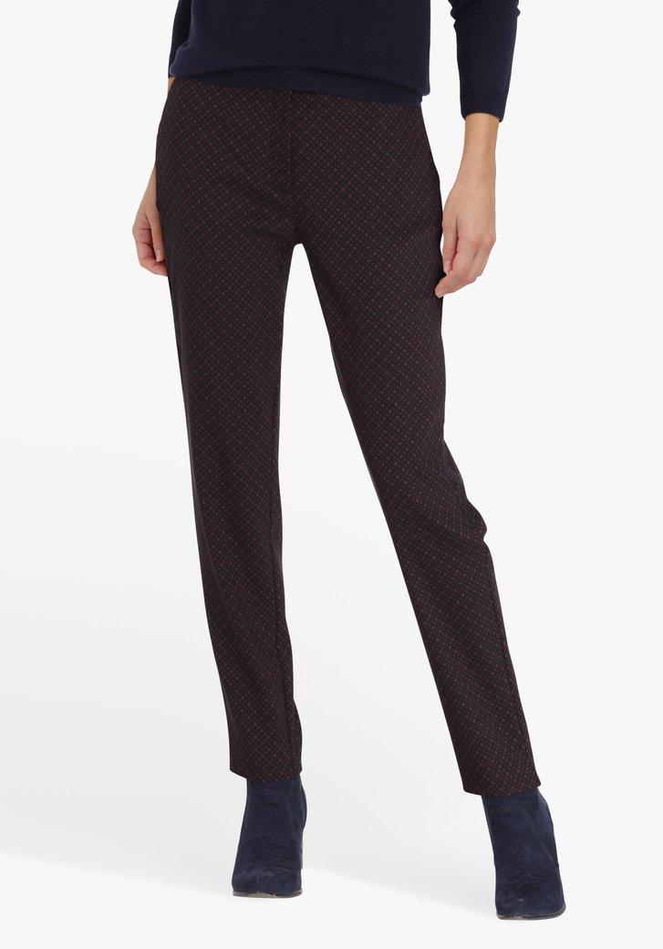 Pantalon noir à imprimé violet - slim fit