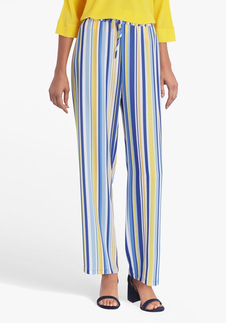 Pantalon palazzo à rayures bleu-jaune