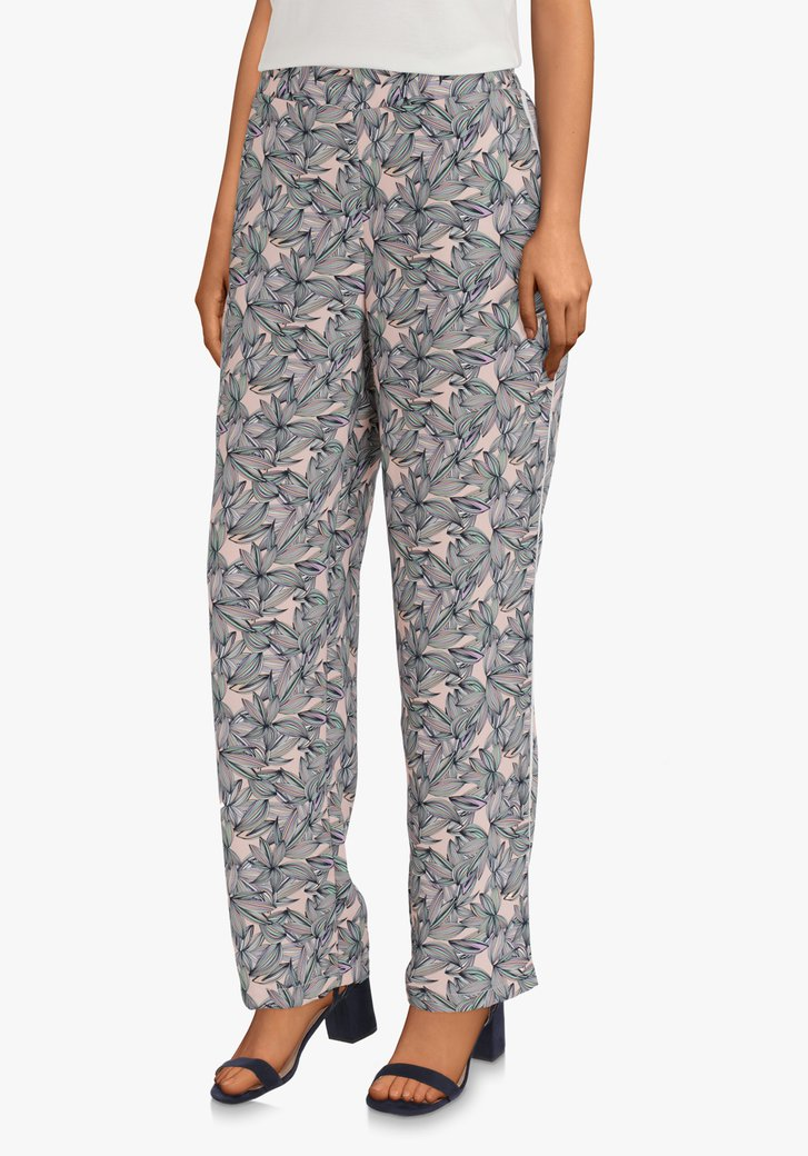 Pantalon rose clair à fleurs - straight fit