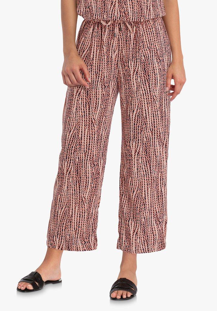 Pantalon rose corail en viscose - straight fit