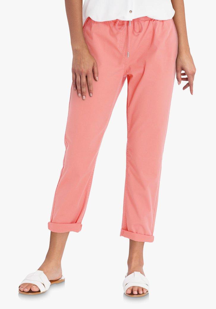 Pantalon rouge corail avec cordon de serrage