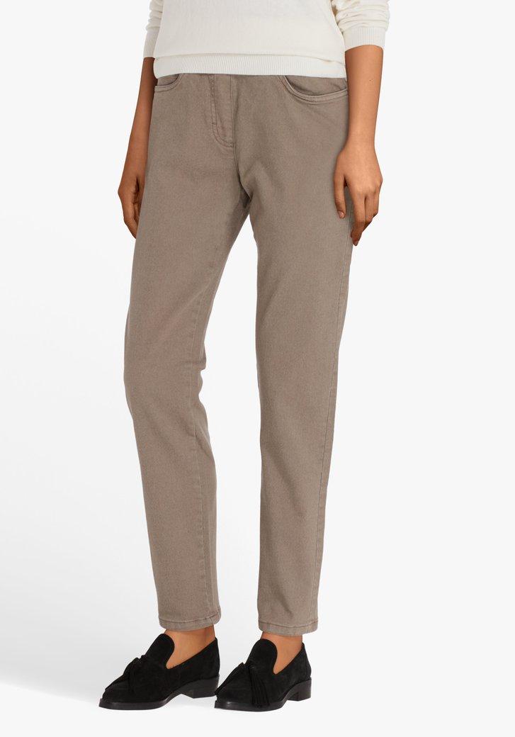 Pantalon taupe à taille élastiquée-comfort fit-L32