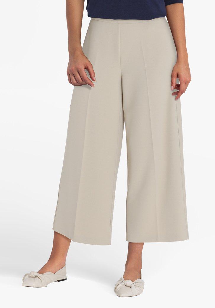 Pantalon trois-quarts large beige