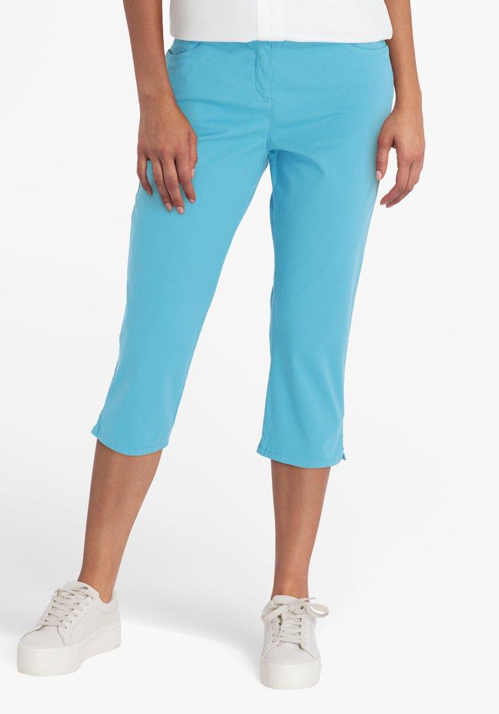 Pantalon turquoise, longueur genou