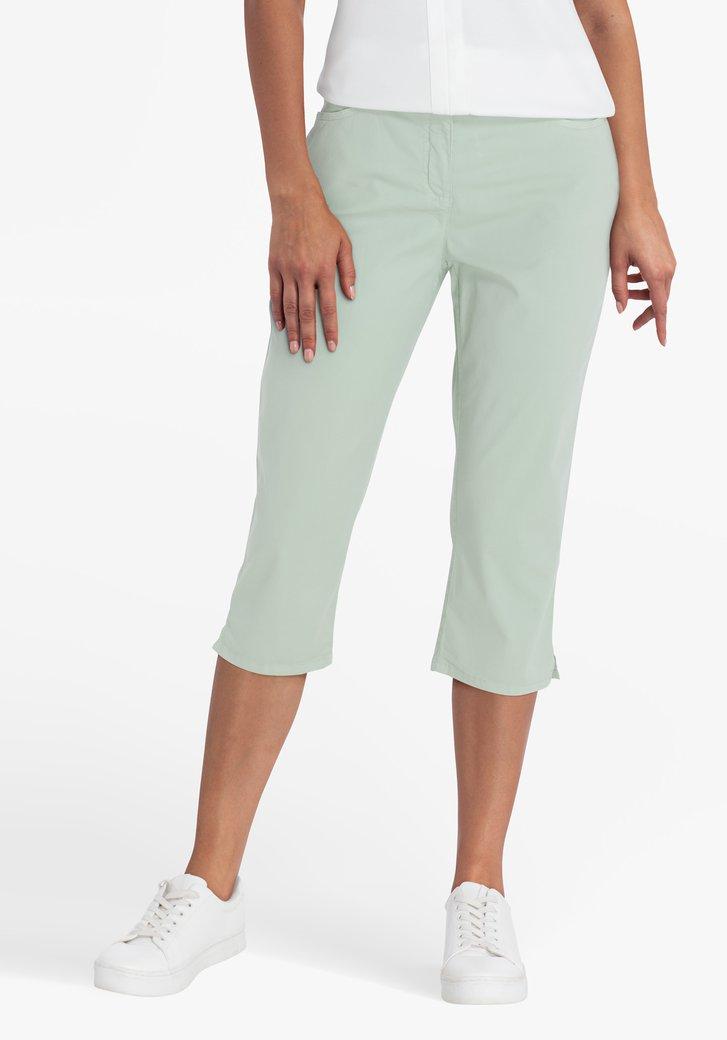 Pantalon vert pastel, longueur au genou