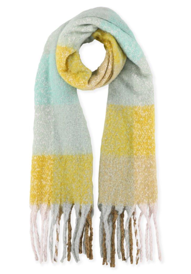 Pastelblauw, groen en gele sjaal