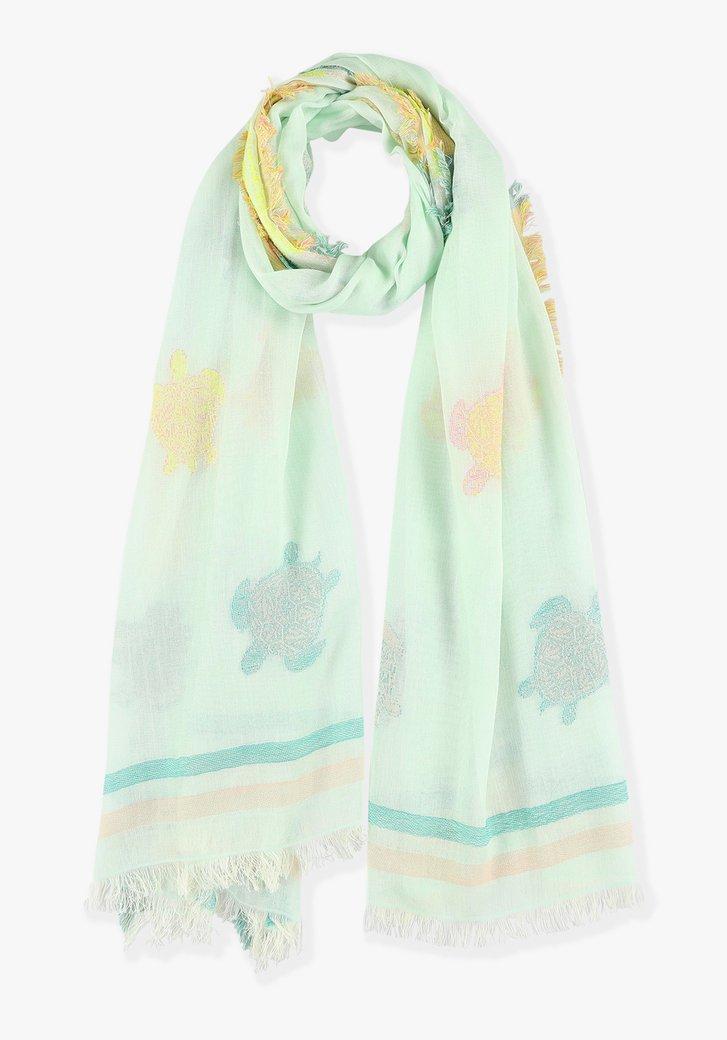 Afbeelding van Pastelgroen sjaaltje met schildpadden