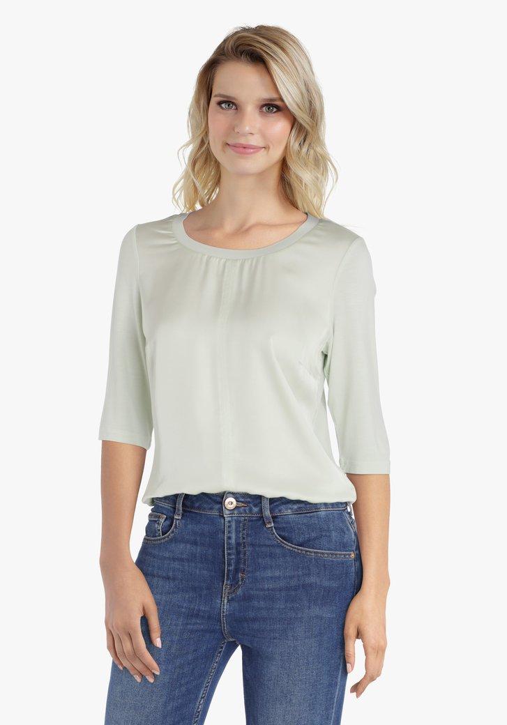 Pastelgroene blouse met 3/4de mouwen