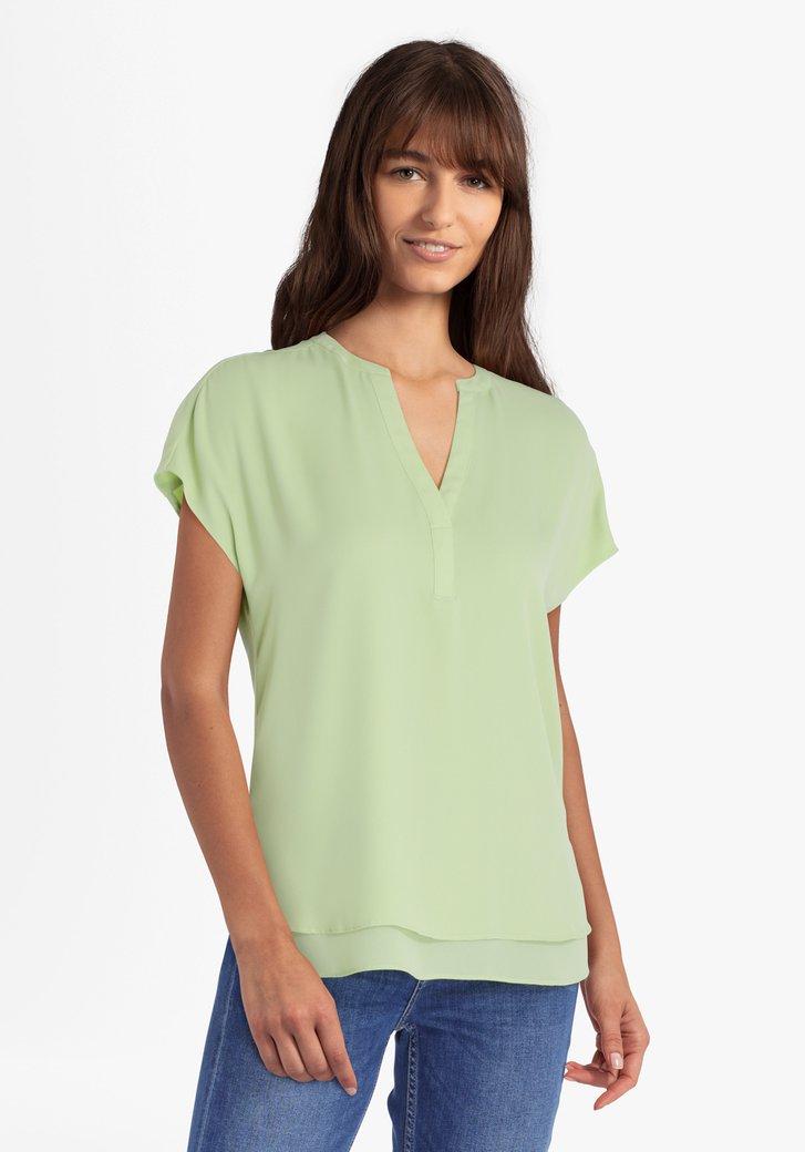 Pastelgroene blouse met V-hals