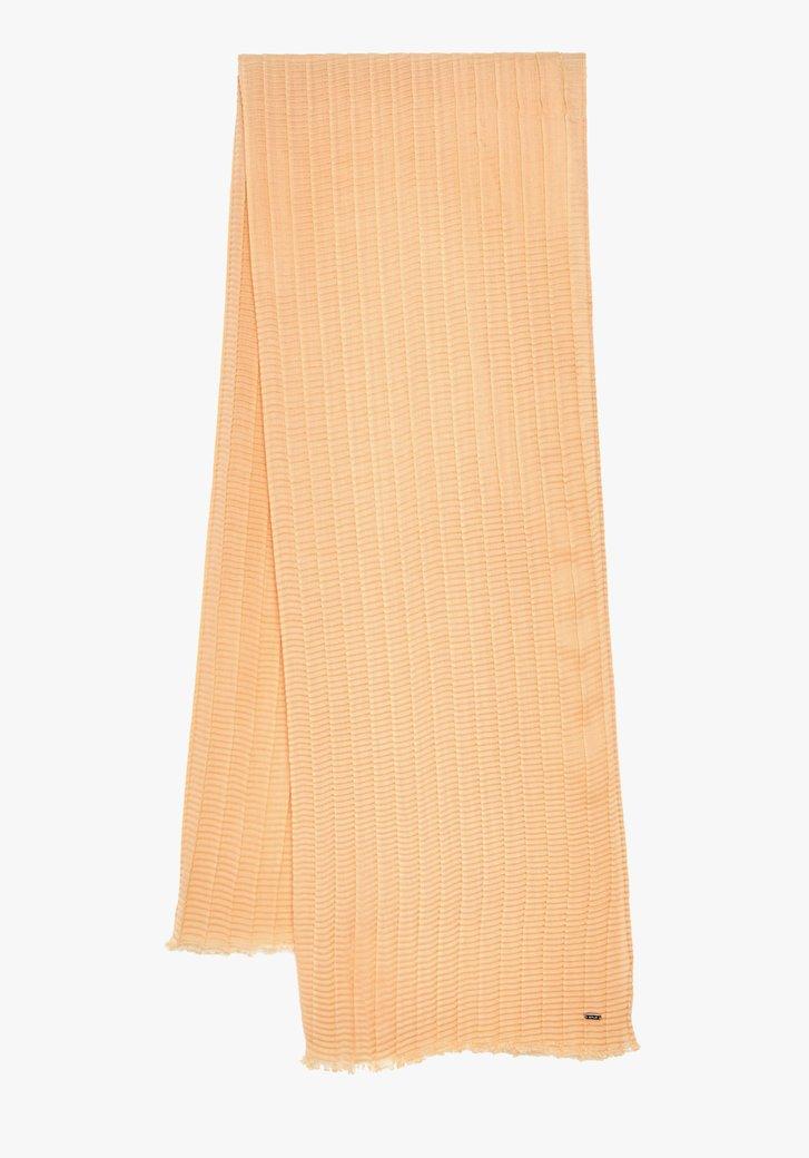 Pasteloranje sjaal in structuurstof