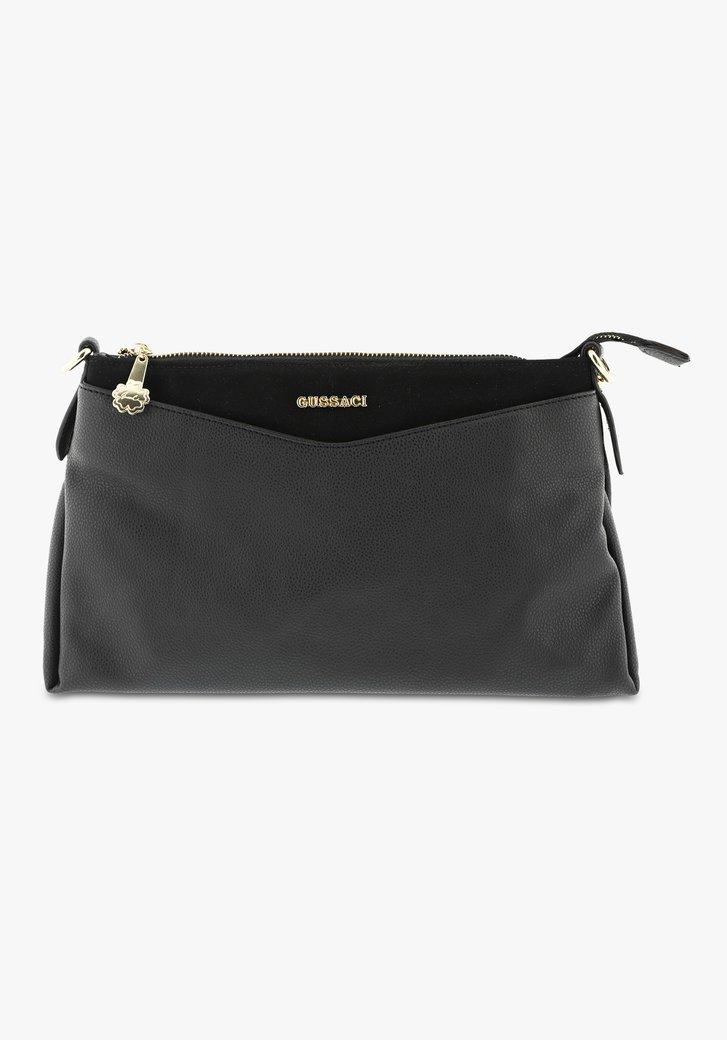 Petit sac à main noir avec des accents dorés