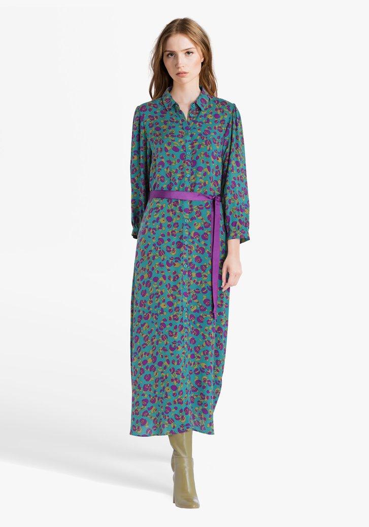 Petrolgroen kleed met paars-groene print