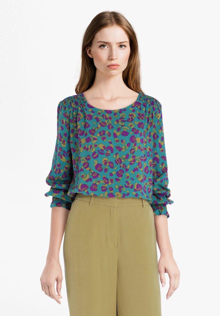 Petrolgroene blouse met paars-groene print