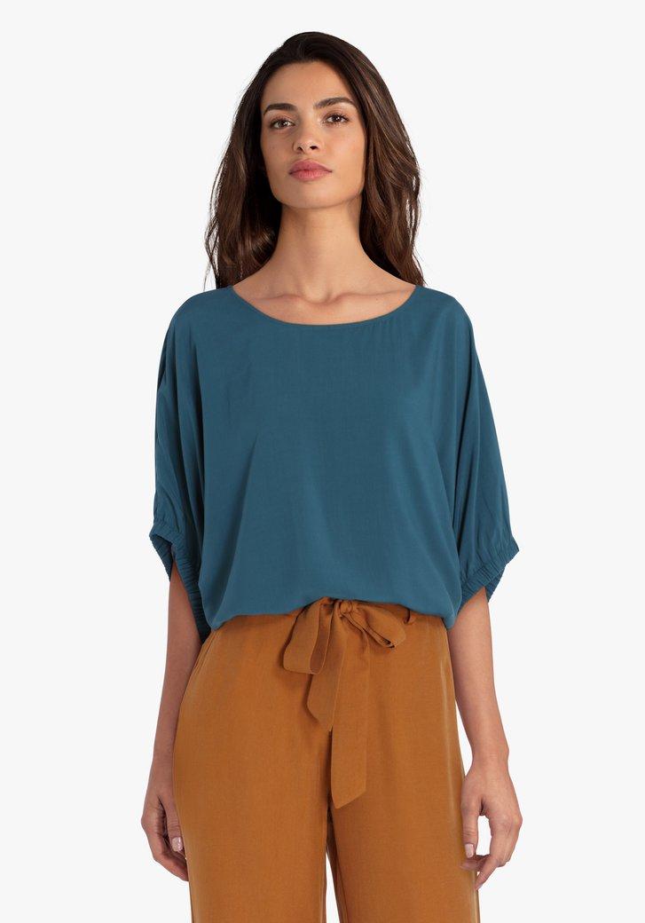 Petrolgroene blouse met vleermuismouwen