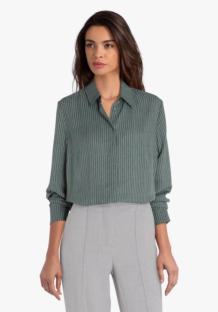 Petrolgroene blouse met zwarte print