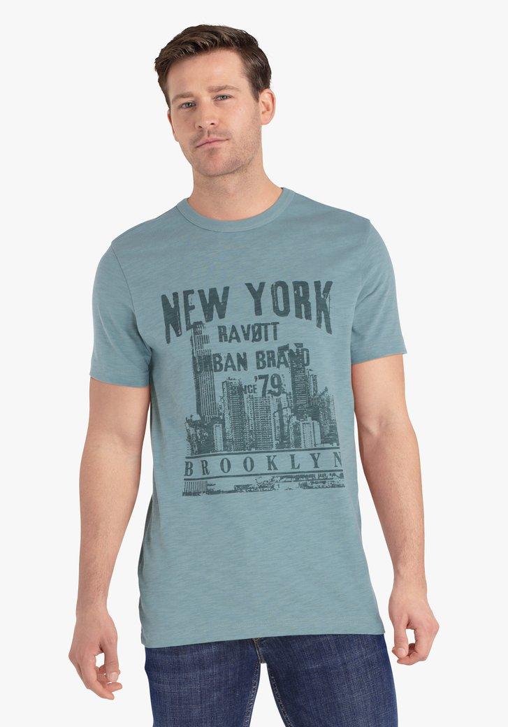 Petrolgroene T-shirt met print