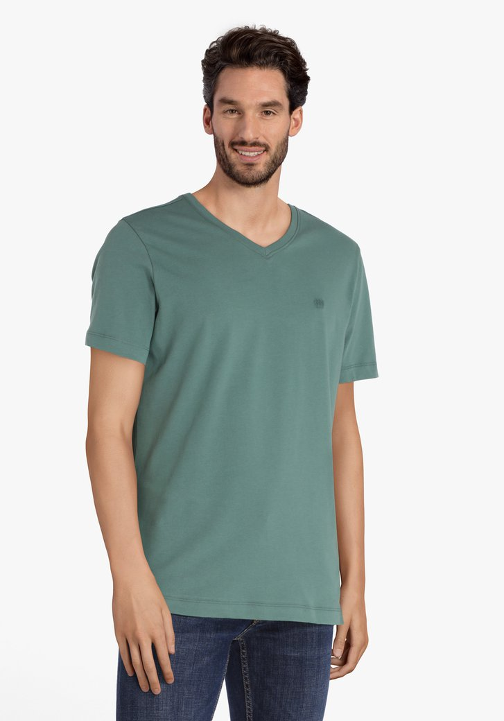 Petrolgroene T-shirt met V-hals