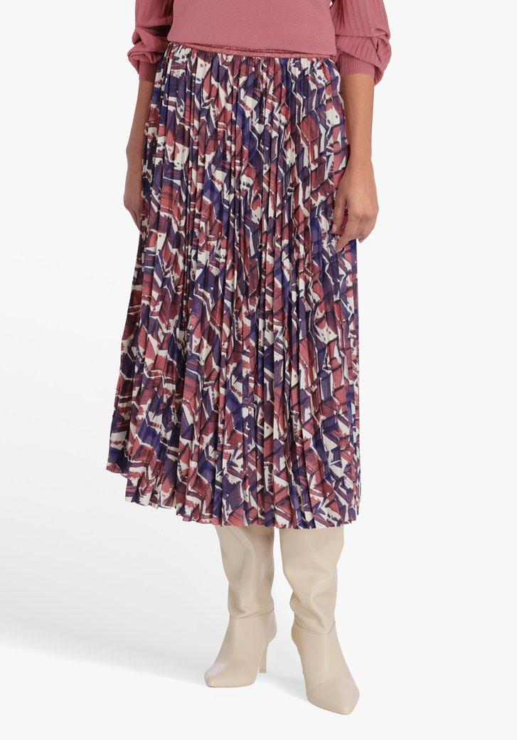 Plooirok met paars- oudroze print