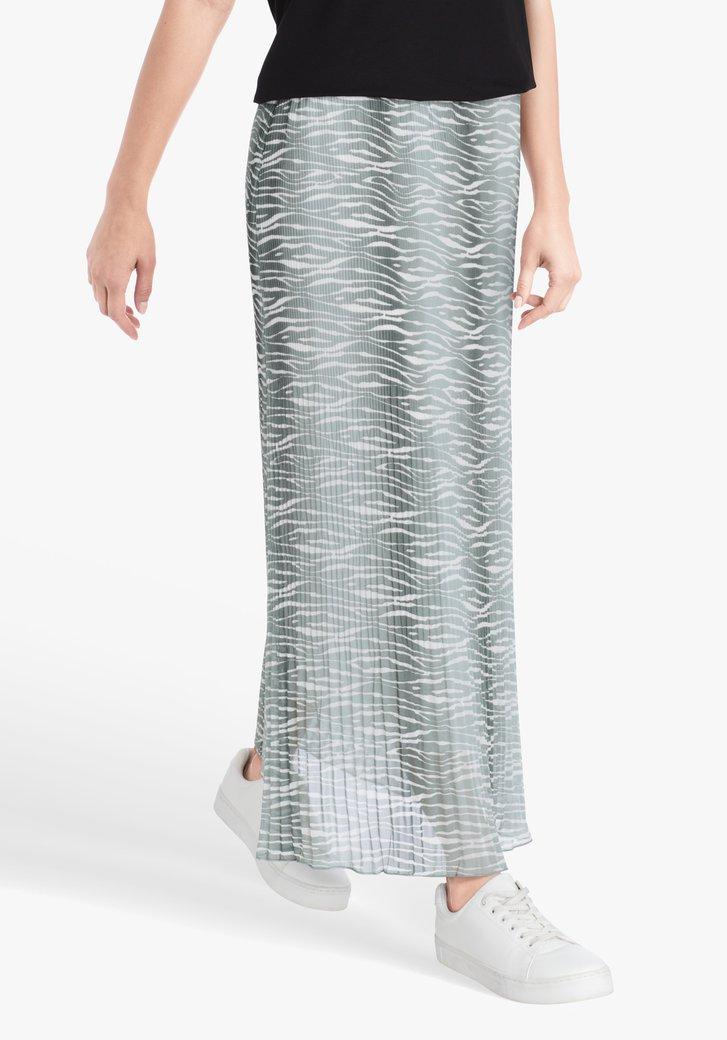 Plooirok met wit-zeegroene zebraprint