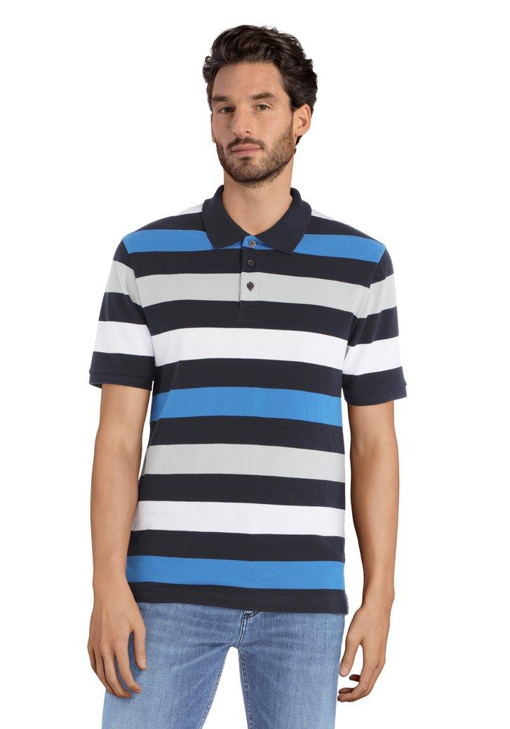 Polo à rayures bleu-gris à manches courtes
