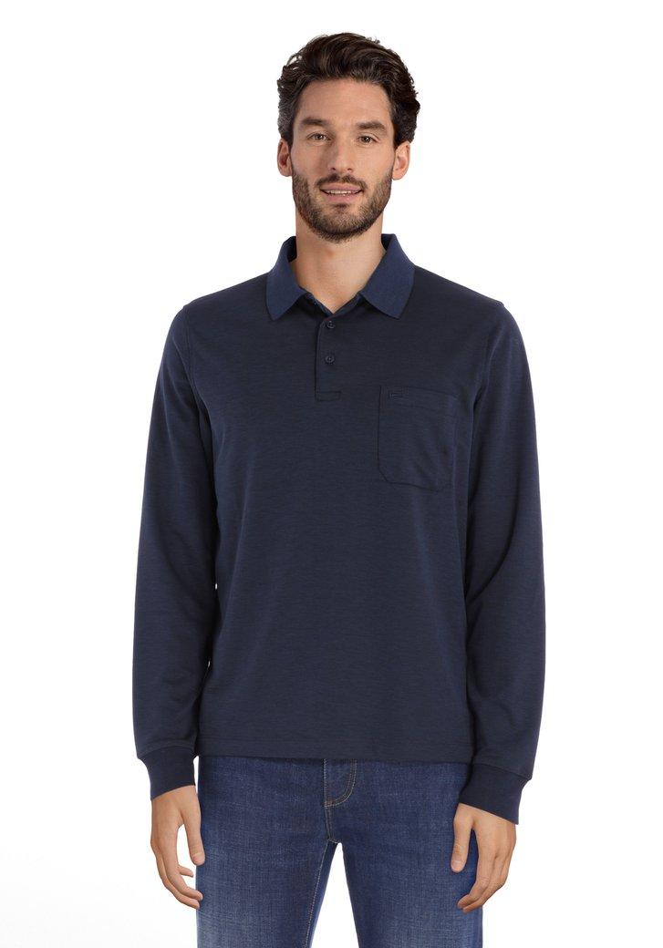 Polo bleu marine avec poche poitrine