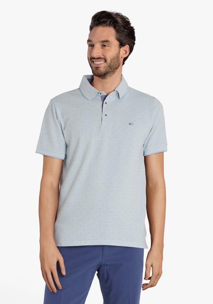 Polo en coton bleu clair à pois