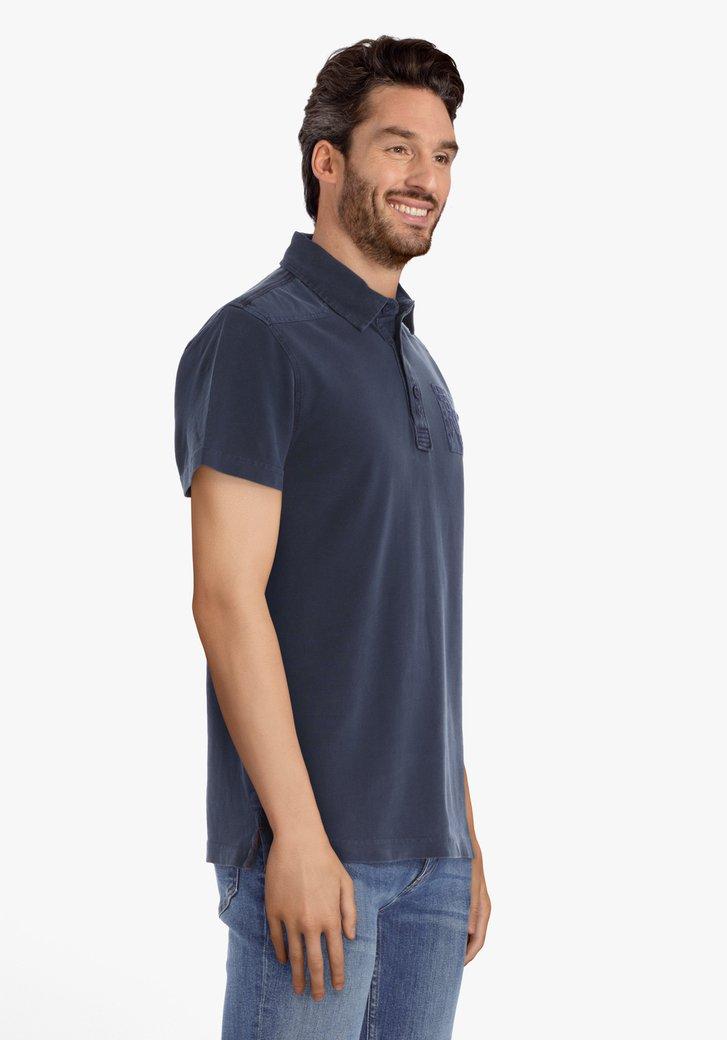 Polo en coton bleu marine avec logo brodé