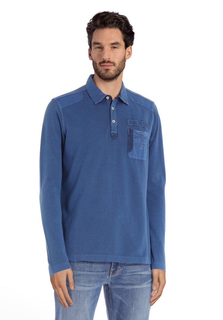 Polo en coton bleu moyen avec logo